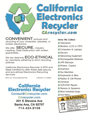 California Electronics Recycling Flyer Ad