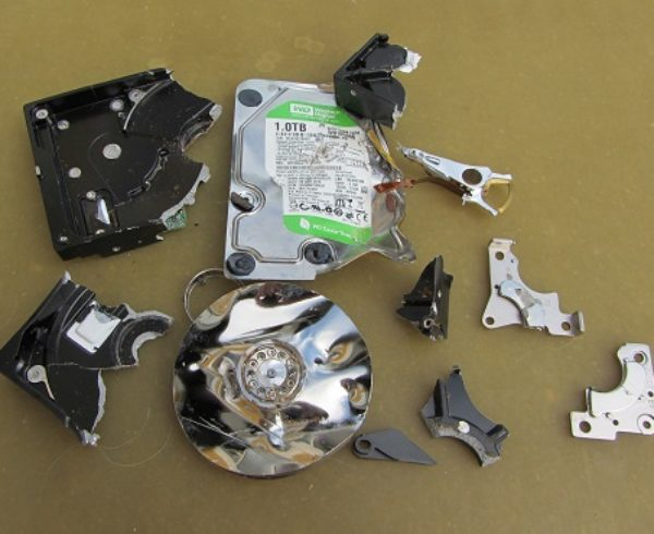 image of shredded hard drive